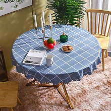 HONG PVC Tablecloth Round Table, Blue Checkered