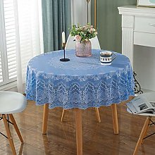 HONG PVC Tablecloth Round Table, Blue Print Round
