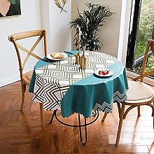 HONG PVC Tablecloth Round Table, Brown Rhombus
