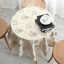 HONG PVC Tablecloth Round Table, Cream Color