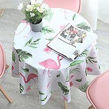 HONG PVC Tablecloth Round Table, Flamingo Green