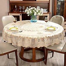 HONG PVC Tablecloth Round Table, Golden Floret