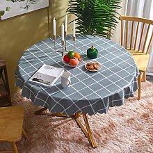 HONG PVC Tablecloth Round Table, Gray Blue