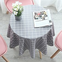 HONG PVC Tablecloth Round Table, Gray Grid Round