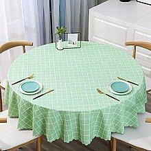 HONG PVC Tablecloth Round Table, Green Checkered