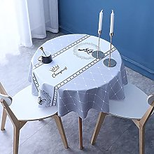 HONG PVC Tablecloth Round Table, Light Blue Crown