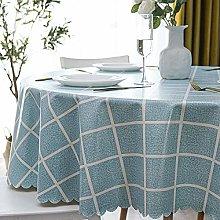 HONG PVC Tablecloth Round Table, Light Blue Square
