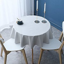 HONG PVC Tablecloth Round Table, Light Gray Pure