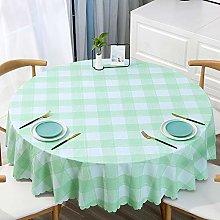 HONG PVC Tablecloth Round Table, Light Green