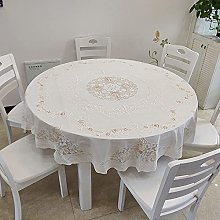 HONG PVC Tablecloth Round Table, Light Luxury Lace