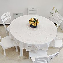 HONG PVC Tablecloth Round Table, Light Pink Lace