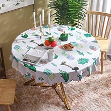 HONG PVC Tablecloth Round Table, Potted Plants