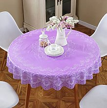 HONG PVC Tablecloth Round Table, Purple Print