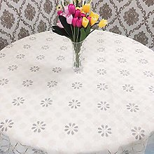 HONG PVC Tablecloth Round Table, Snow Petals Round