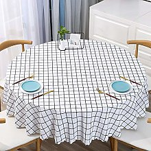 HONG PVC Tablecloth Round Table, White Small