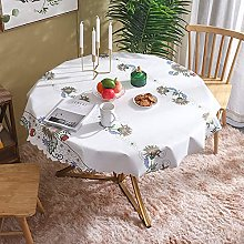 HONG PVC Tablecloth Round Table, Wildflowers White