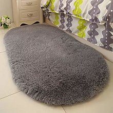 HONGBI Fluffy Faux Fur Rug Oval Bedside Carpet