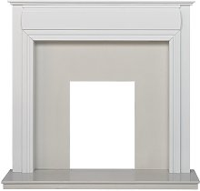 Honley Surround in Pure White & White Marble, 48