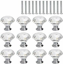 HONMIED 12 Pcs Crystal Glass Drawer Knobs,30 mm
