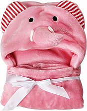 Hooded Baby Towel, Bath Wrap Blanket Soft Coral