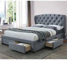 Hope Grey Velvet Fabric 4 Drawer Winged Storage