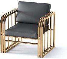 HOPUBO Black Soft Leather Single Sofa Chair With