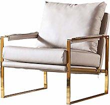 HOPUBO White Soft Leather Sofa Chair, Single