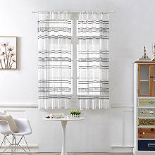 Horizontal Stripe Sheer Curtain Window Screening