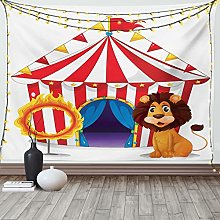 horjeeda Circus Tapestry Cartoon Of Lion And Ring