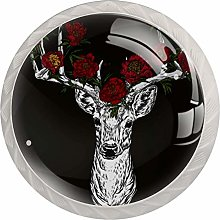 Horned Deer with Peonies 4 Pack Round Drawer Knobs