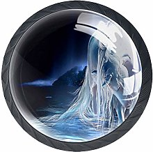 Horse Crystal Glass Round Cabinet knob with Screws