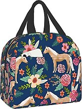 Horse Florals Portable Lunch Bag Insulated Cooler