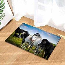 Horse Herd On The Farm. Door Mat Front Door Carpet