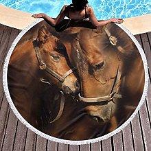 Horse Printed Round Beach Towel Yoga Picnic Mat