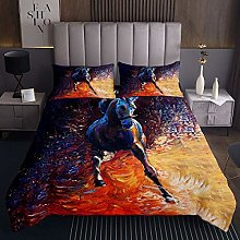 Horse Quilted Coverlet Galloping Horse Bedspread