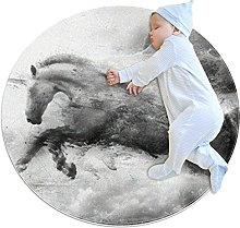 Horse ride, Kids Round Rug Polyester Throw Area