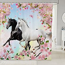 Horse Shower Curtain For Bathtubs Kids Pink Cherry