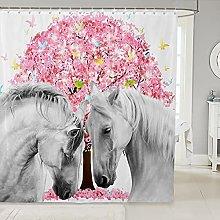 Horse Shower Curtain For Bathtubs Kids Pink Floral