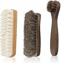 Horsehair Shine Shoes Brush kit, 3-Pack Polish