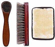 Horsehair Shoe Shine Brush Kit, Horse Hair