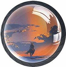 Horseman (4 PCS) Colorful Crystal Glass Cupboard