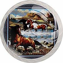 Horses Art Painting Cabinet Door Knobs Handles