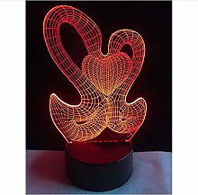Hot Sale Double Swan Heart 3D Lamp LED USB Mood