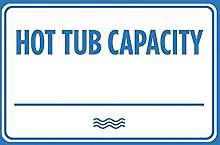 Hot Tub Capacity Blue White Print Swim Rules