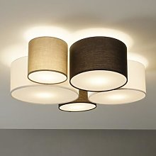 Hotel ceiling light with five fabric lampshades