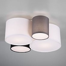 Hotel ceiling light with four fabric lampshades