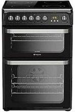 Hotpoint Hue61Ks Ceramic Double Oven Cooker - Black