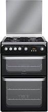 Hotpoint HUG61K 60cm Double Oven Gas Cooker - Black