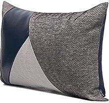 HOUMEL Blue Leather Stitching Sofa Cushion Cover