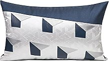 HOUMEL Cushion Cover Blue And Gray Soft Stitching